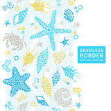 Bright seamless pattern with sea elements. Royalty Free Stock Images