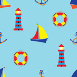 Bright seamless pattern with sea elements in doodle style. Stock Image