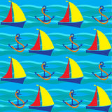 Bright seamless pattern with sea elements in doodle style. Stock Photo