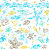 Bright seamless pattern with sea elements. Stock Images