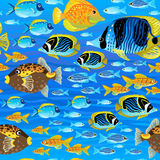 Bright seamless pattern with sea fish. Royalty Free Stock Images