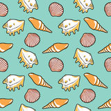 Bright seamless pattern with shells Stock Images