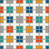 Bright seamless pattern with simple geometric ornament. Repeated square abstract background. Stock Images