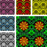 Bright seamless Pattern in six color varants Stock Image