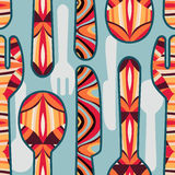 Bright seamless pattern with spoons, knives and forks Stock Image