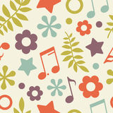 Bright seamless pattern of stars, notes and leaves Royalty Free Stock Photos