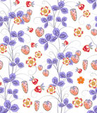 Bright seamless pattern with a strawberry, leaves and flowers. Vector EPS10 Stock Photos