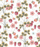 Bright seamless pattern with a strawberry, leaves and flowers. Vector EPS10 Royalty Free Stock Image