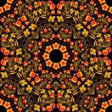Bright seamless pattern in the style Khokhloma. Golden flowers, leaves and berries on a black background. Royalty Free Stock Photography