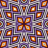 Bright seamless pattern with symmetric geometric ornament. Colorful abstract background. Ethnic and tribal motifs. Royalty Free Stock Photography