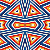 Bright seamless pattern with symmetric geometric ornament. Colorful abstract background. Ethnic and tribal motifs. Ornamental vivid wallpaper. Vector Stock Illustration