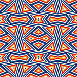Bright seamless pattern with symmetric geometric ornament. Colorful abstract background. Ethnic and tribal motifs. Royalty Free Stock Photo