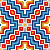 Bright seamless pattern with symmetric geometric ornament. Colorful abstract background. Ethnic and tribal motifs. Ornamental vivid wallpaper. Vector Royalty Free Stock Image