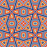 Bright seamless pattern with symmetric geometric ornament. Colorful abstract background. Ethnic and tribal motifs. Ornamental vivid wallpaper. Vector Stock Images