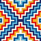 Bright seamless pattern with symmetric geometric ornament. Colorful abstract background. Ethnic and tribal motifs. Ornamental vivid wallpaper. Vector Royalty Free Stock Images
