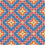 Bright seamless pattern with symmetric geometric ornament. Colorful abstract background. Ethnic and tribal motifs. Ornamental vivid wallpaper. Vector Stock Photo