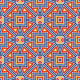 Bright seamless pattern with symmetric geometric ornament. Colorful abstract background. Ethnic and tribal motifs. Ornamental vivid wallpaper. Vector Royalty Free Stock Photography