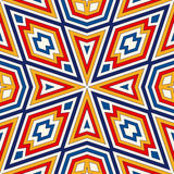 Bright seamless pattern with symmetric geometric ornament. Colorful abstract background. Ethnic and tribal motifs. Ornamental vivid wallpaper. Vector Royalty Free Stock Photo