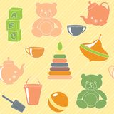 Bright seamless pattern with toys Royalty Free Stock Images