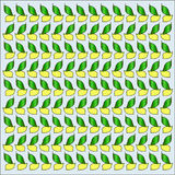 Bright seamless pattern with yellow lemons and green leaves Royalty Free Stock Image