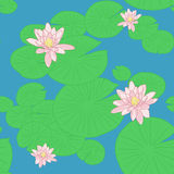 Bright Seamless pattern with Yellow Lotuses in the pond. Royalty Free Stock Photos