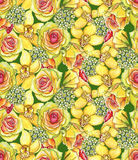 Bright seamless pattern with of yellow orchids, waxflowers and r Royalty Free Stock Photos