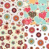 4 bright seamless patterns Stock Photos