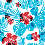 Bright seamless summer tropical pattern with palm Royalty Free Stock Photo