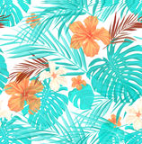 Bright seamless summer tropical pattern with palm Stock Photo