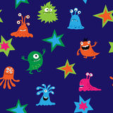 Bright seamless template with monsters and bacteria Royalty Free Stock Photos