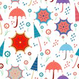 Bright seamless with umbrellas, flowers and spring rain, showers with living coral colours. april showers royalty free illustration