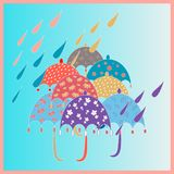 Bright seamless with umbrellas and rain, showers with living coral colours. april showers stock illustration
