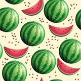 Bright seamless wallpaper with watermelon. Vector illustration Royalty Free Illustration