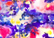 Bright Seamless Watercolor Abstract Pattern. Mix of color stains Stock Image