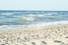 Bright seascape during, day on the beach Royalty Free Stock Photo