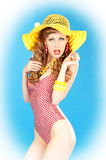 Bright seductive charming pin-up girl Stock Photo