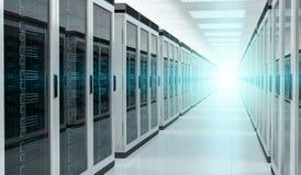 Server room data center interior 3D rendering. Bright server room data center storage interior 3D rendering Royalty Free Stock Images