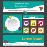 Bright set of banners for web design with cute birds Royalty Free Stock Image