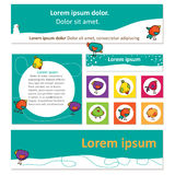 Bright set of banners for web design with cute birds Stock Photos