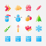 Bright set of christmas icons Royalty Free Stock Image