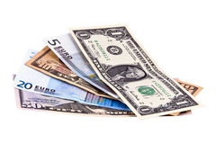 Bright set of different euro and dollar notes Royalty Free Stock Photography