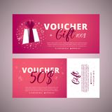 Bright set of gift voucher 100 dollars discount stock illustration