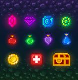 A bright set of pixel art elements for the game. Stock Photos