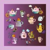 Bright set of teapot and cups. Cartoon illustration. Stock Photos