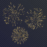 Bright set of three elements, fireworks on dark background. Vector illustration Royalty Free Stock Photography