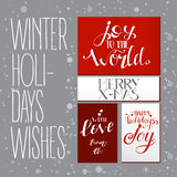 Bright set with Xmas wishes. Holidays vector lettering. Hand drawn text illustration for banners and cards Royalty Free Stock Photo