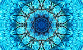 Bright shades of blue of a very detailed mandala. Art with a star-shaped core vector illustration