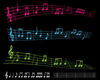 Bright sheet music. Colorful sheet music with notes on black vector illustration