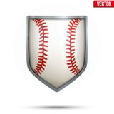 Bright shield in the baseball ball inside. Vector. Royalty Free Stock Photo