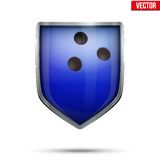 Bright shield in the bowling ball inside. Vector. Royalty Free Stock Images